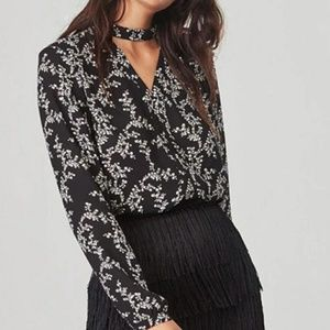 Jack by BB Dakota Black Floral Blouse